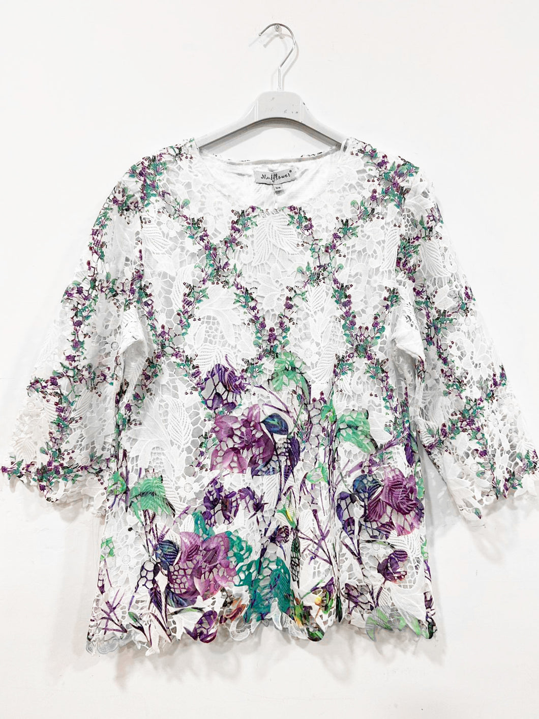 Lipstick – Long Sleeved Crochet Print Top – Lilac – 944S0