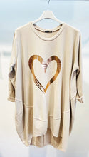 Load image into Gallery viewer, Lipstick – Heart Print Tunic - Beige - 10517