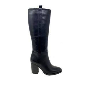 Heeled Knee High Boot - Black - F5855