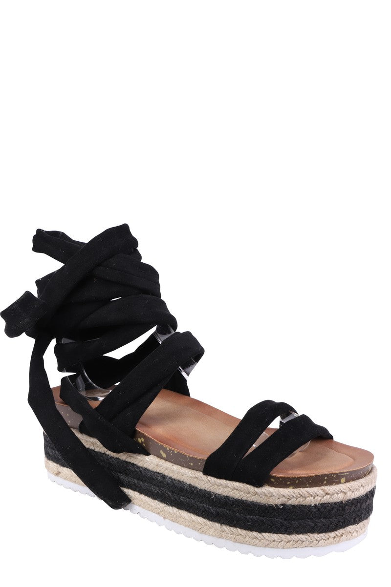 Forever Folie – Lace Up Sandal – BL307 – Black