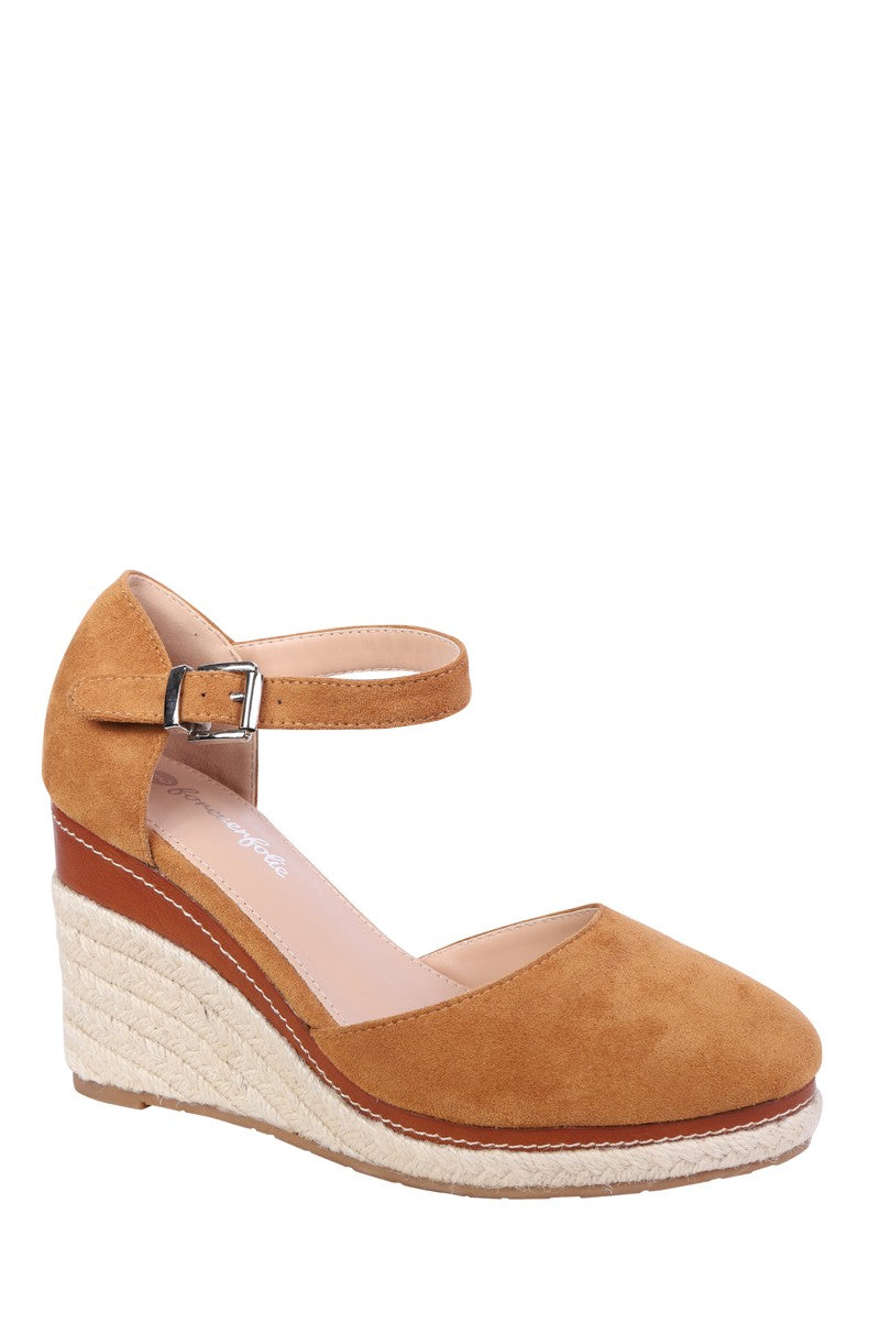 Forever Folie – Open Foot Wedge Shoe – FL23 – Camel