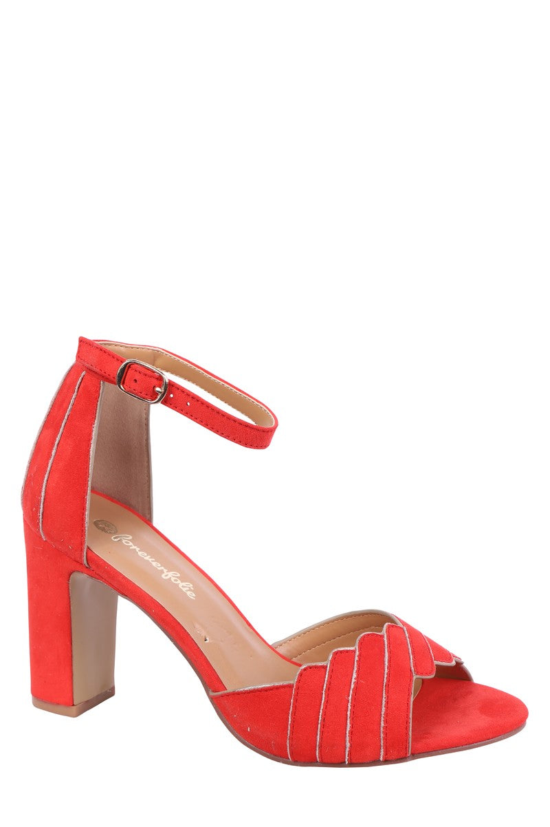 Forever Folie – Suede Heeled Shoe – M547 – Red