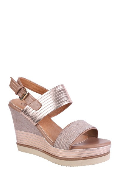 Forever Folie – Metalic High Wedge Shoe – YQ14 – Champagne