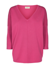 Load image into Gallery viewer, Freequent Jone V-Neck Knit Top - Fuchsia