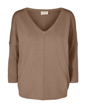 Load image into Gallery viewer, Freequent Jone V-Neck Knit Top - Mocca