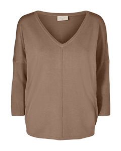 Freequent Jone V-Neck Knit Top - Mocca