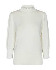 Val PU L/S Ruffle Neck Top