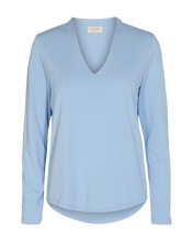 Load image into Gallery viewer, Freequent – Long Sleeved V-Neck Top - Blue - YR-SLIM-LS