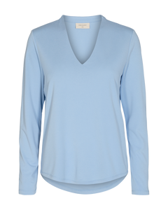 Freequent – Long Sleeved V-Neck Top - Blue - YR-SLIM-LS