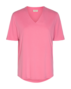 Freequent – V-Neck Short Sleeved Top - Pink - YR-SS-BL