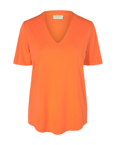 Freequent – V-Neck Short Sleeved Top - Orange - YR-SS-BL