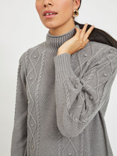 Load image into Gallery viewer, Vila – Long Sleeved High Neck Knit Top - Grey - Evalli