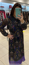 Load image into Gallery viewer, K&S Paisley Print Tie Neck Dress - Purple - 3573W0