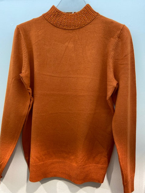 Sunco - Embellished Turtle Neck Jumper - Pumpkin - 185