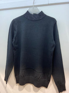 Sunco - Embellished Turtle Neck Jumper - Black - 185