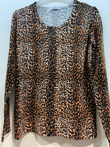 Sunco - Leopard Printed Jumper With Heat Stones - Pumpkin - 004