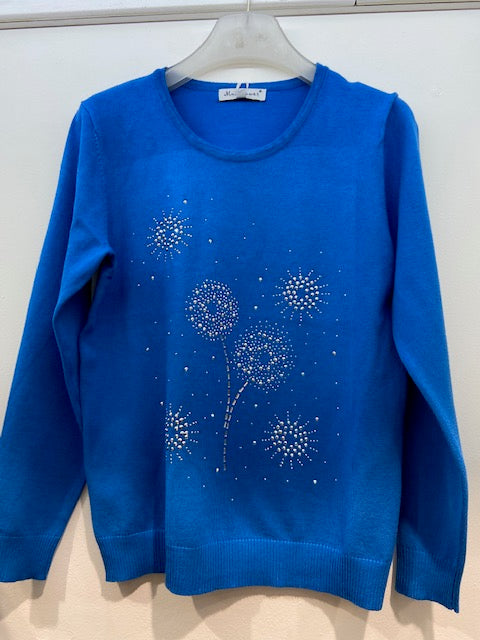 Sunco - Dandelion Embellished Jumper - Peacock - 028