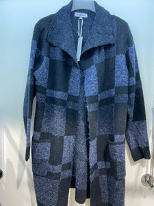 Sunco - Long Blocked Print Cardigan - Navy - 526
