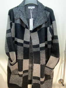 Sunco - Long Blocked Print Cardigan - Charcoal - 526