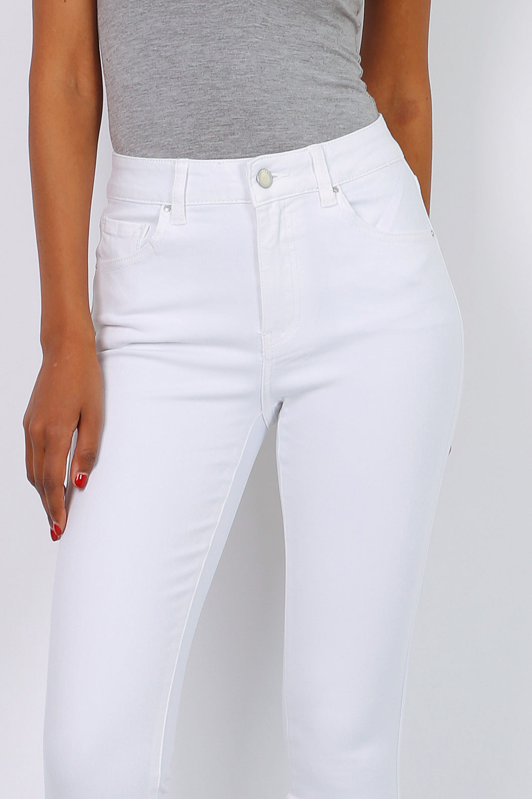 Toxik3 – High Waist Coloured Jeans - White - L1700
