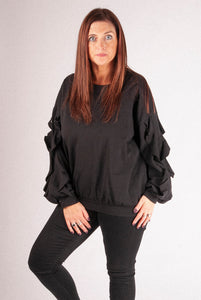 Iris - Frill Sleeved Top - Black - G1220
