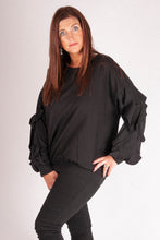 Load image into Gallery viewer, Iris - Frill Sleeved Top - Black - G1220