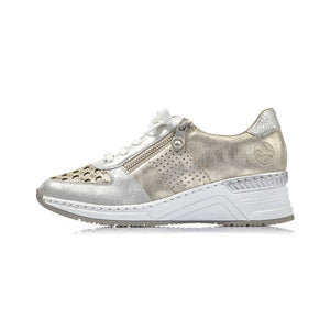 Rieker - Womens Lace Up Runner - Silver / Gold - N4326