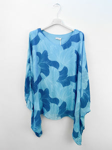 Lipstick – Batwing Silk Top – Turquoise – 5436