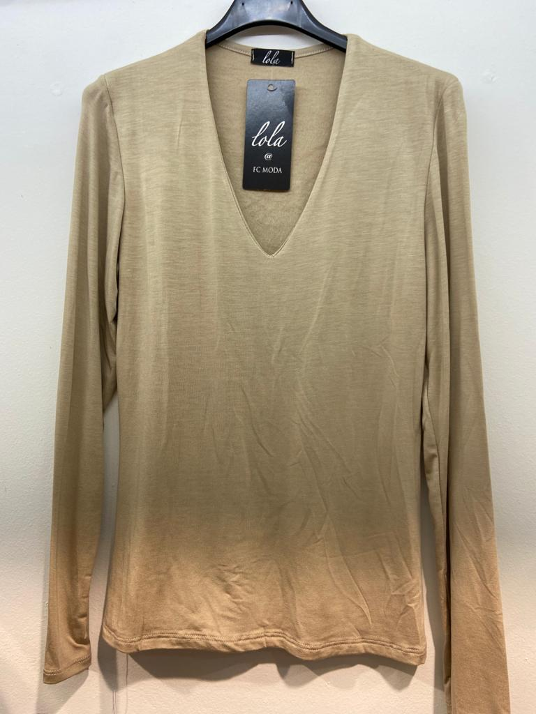Novio - 2FOR€20 - V-Neck Fleece Lined Long Sleeved Top - Beige - 363