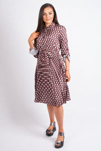 Pink Black - Belted Shirt Dress - Various Colours - 16695