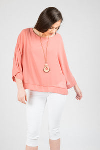Pink Black 2pc Top With Necklace 6283-S0
