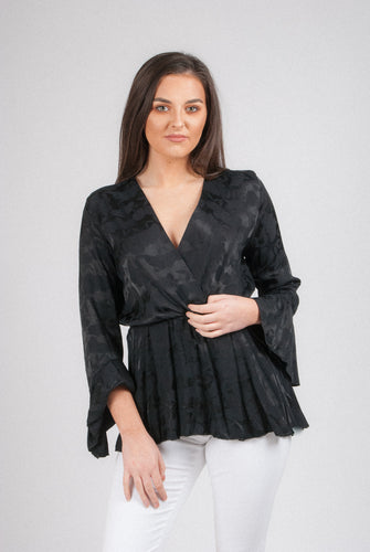 Pink Black Satin Blouse 8028