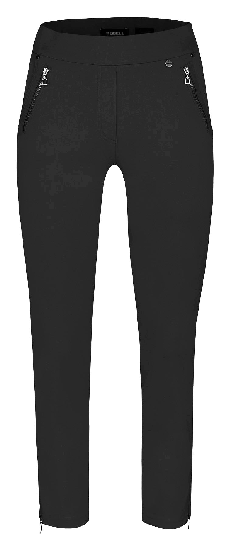 Robell Nena Trousers With Zip Ends - 7/8 Black - 52490W0