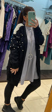 Load image into Gallery viewer, Azaka - Long Sleeved Cardigan with Pearl Detail - Black - at7090