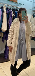 Azaka - Long Sleeved Cardigan with Pearl Detail - Beige - at7090