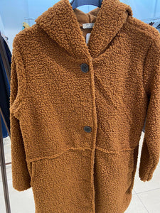 XLL - Long Button Teddy Coat - Camel - 3151