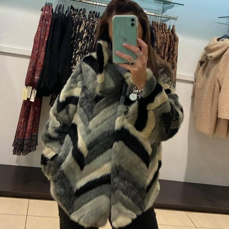 Lipstick – Short Fur Jacket - Grey – 6882