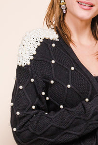 Azaka - Long Sleeved Cardigan with Pearl Detail - Black - at7090