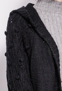Azaka - Long Sleeved Bobble Sleeve Cardigan - Black - at7073