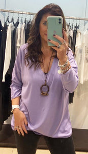 Pink Black – Basic V-Neck Top with Necklace - Lilac - 13852