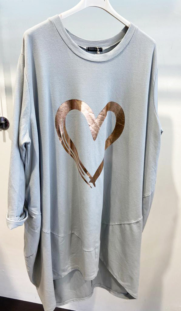 Lipstick – Heart Print Tunic - Grey - 10517