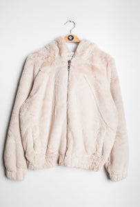 DA Fashion - Short Fur Hooded Jacket - Beige - XY76