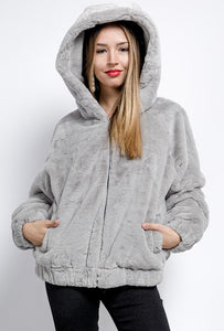 DA Fashion - Short Fur Hooded Jacket - Grey - XY76