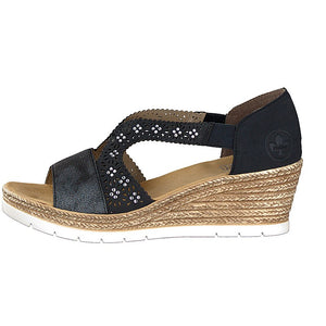 Rieker – Wedge Sandal – Navy - 619A3