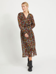 Vila – Long Sleeved Midi Dress - Black - Padrig