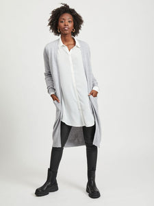 Viril Long Sleeved Long Knit Cardigan - Light Grey