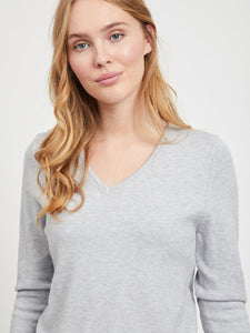Viril Long Sleeved V-Neck Top - Light Grey