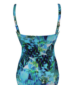 Badpak strapless met softcup en powernet E39210-23 20  turquoise-navy