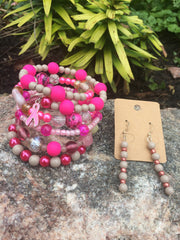 Shades of Pink with Agate Breast Cancer Set