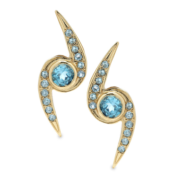 14K Gold Earrings with Blue Topaz Gemstones